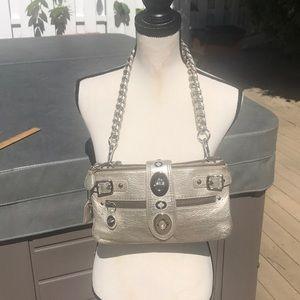 Coach rare silver leather shoulder bag.